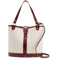 The Row Leather-trimmed canvas bucket bag (€2.045) ❤ liked on Polyvore featuring bags, handbags, white, white bag, structured bag, the row bag, white canvas handbag and canvas purse