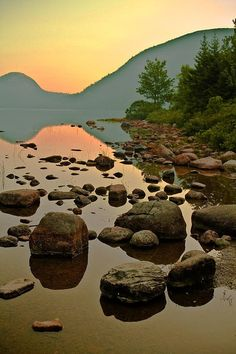 Sunrise at the Bubbles in Acadia National Park, Maine by: PMG Images