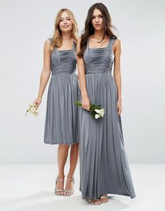 Grey Wedding Ideas | ASOS WEDDING Slinky Ruched Maxi Grey Bridesmaid Dresses