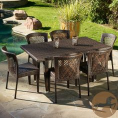 Never again worry about surprise barbecues or outdoor events with multiple guests. Made of Environment-friendly synthetic wicker, the Dusk 7-piece outdoor dining set is sturdy and stylish.