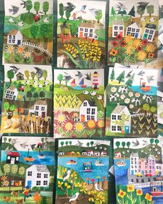 Almost half way through. The 100 day project by Tracey English 100 days of collaged postcards Paper Collage Art, Paper Art, Art For Kids, Crafts For Kids, Ecole Art, Art Club, Summer Art, Art Activities, Teaching Art