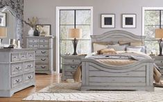 Gray bedroom furniture - Painting wooden bedroom furniture can be an easy way to update or change the look of a whole bedroom. Change the color of the furniture, or create antiqued or distressed effects on existing pieces. Grey Bedroom Furniture Sets, Bedroom Dresser Sets, Gray Bedroom, Apartment Furniture, Bedroom Sets, Bedroom Decor, Accent Furniture, Master Bedroom, Office Furniture