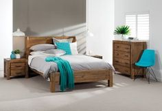 Silverwood 5 Piece Dresser Queen Bedroom Suite | Super A-Mart - Love the aqua cushion & throw.