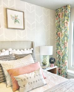 Girls Room Bedroom Ideas Wall Paint And Tape Idea Floral Geometric Pattern