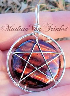 Wire Wrapped Supernatural Inspired Pentacle Dragon's Eye Pendant