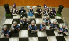 Fantasy Chess Set - Cool Colors, Donna Marion, SciFi Fantasy Art