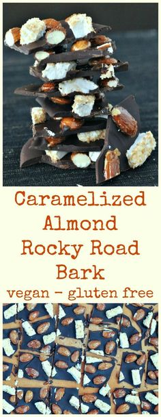 Caramelized Almond Rocky Road Bark @spabettie #vegan