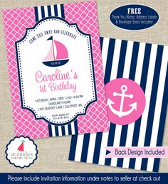 Hey, I found this really awesome Etsy listing at https://www.etsy.com/listing/220381813/nautical-party-invitation-girls-nautical