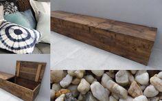 Wunderschöne Bank aus Bauholz geeignet gegen eine Wand; für innen und aussen. Unter dem Deckel gibt es viel Stauraum für Ihre Sachen.