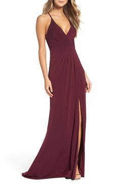 La Femme Studded Pleated Gown