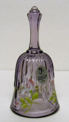 Fenton Violet Beauty mini-bell - Decorated + signed by George W. Fenton - 2002 #Fenton