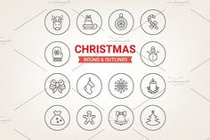 Circle Christmas icons by miumiu on @creativemarket