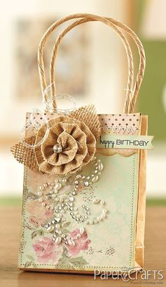 DIY Decorated Gift Bags ~ Piali Biswas from 350 Cards & Gifts, Volume 2 published by Paper Crafts Magazine. Paper Crafts Magazine, Paper Bag Crafts, Paper Gift Bags, Paper Gifts, Craft Bags, Craft Gifts, Diy Gifts, Creative Gift Wrapping, Creative Gifts