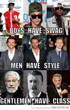Differences between boys, men and gentlemen…
