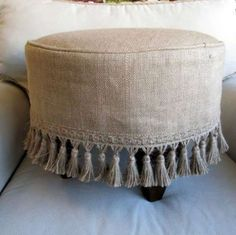PLEASE ALLOW 7 10 DAYS TO SHIP THIS ITEM IS MADE TO ORDER made entirely by me round stool finished in off whte ticking and slipcovered in burlap with burlap tassel fringe dark wood legs in a square style round top overall size top to Burlap Projects, Burlap Crafts, Round Stool, Chair Covers, Slipcovers, Decoration, Diy Furniture, Furniture Design, Painted Furniture