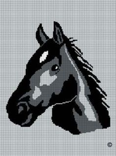 BLACK HORSE HEAD STALLION MARE CROCHET AFGHAN PATTERN GRAPH | CozyConcepts - Patterns on ArtFire