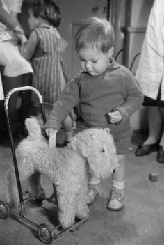 A young boy plays with his 'push-along' toy dog at the 'Foster Parents Plan for War Children' Nursery in Hampstead.