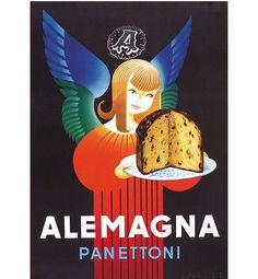 Manifesto pubblicitario panettone Alemagna, Lucien Bertaux - advertisement poster