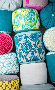 Pouf / Ottoman / multicolored / Summer / living room / handmade