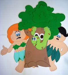 Adão e Eva | Contém 4 peças em EVA revestidas em papel paraná gr. 320 | Árvore em eva de 5mm | acompanha esboço explicativo.