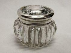 Victorian Vanity Dresser Jar Sterling Silver Top Roses