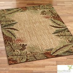 """$187 Pet Friendly Sarasota Tropical Leaf Area Rugs - Charming, machine-woven rugs, .25"""" thick, feature an outer border of exotic fronds. The durable DuPont(TM) Sorona(R) fibers are are super-soft and stain- and soil-resistant. We recommend professional cleaning by a rug cleaner.  • Built-in lifetime stain/soil resistance never wears or washes off • Permanently resists stains and spills • Resists crushing and matting • From Mohawk, a leader in the flooring industry worldwide. Also runners"""