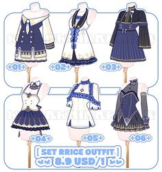Outfit design It's harder than I think But I had a lot of fun making these ! I hope you like it Set Price &nb. Clothes Draw, Manga Clothes, Drawing Anime Clothes, Dress Drawing, Clothing Sketches, Dress Sketches, Fashion Design Drawings, Fashion Sketches, Anime Outfits