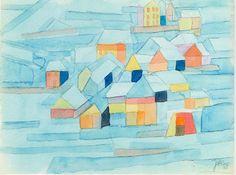 Dorf im Winter (Village in winter) 1965 Aquarell auf Papier x cm Johannes Itten, Walter Gropius, Kandinsky, Aboriginal Art, Graphic Illustration, Abstract Art, Winter, Artwork, Shapes
