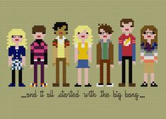 Pixel People The Big Bang Theory PDF pattern by weelittlestitches