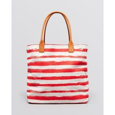 Burberry Tote - Medium Lauriston Striped Canvas ($557) ❤ liked on Polyvore