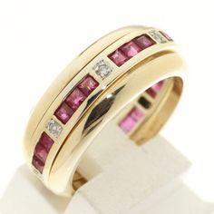Set van 3 14krt geel gouden ringen waarvan een alliance bezet met natuurlijke robijnen en diamanten