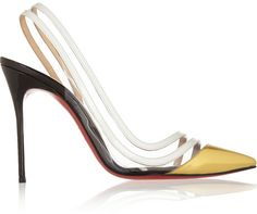 Christian Louboutin Paralili 100 patent-leather and PVC slingback pumps on shopstyle.com