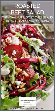 The holidays will be here before you know it! Be sure to put this salad on your must-make list for oohs and aahs from family and friends! Roasted Beet Salad with Walnuts, Goat Cheese and Honey Balsamic Dressing is a classic, elegant salad perfect for any occasion! Honey Recipes, Gourmet Recipes, Vegetarian Recipes, Dinner Recipes, Healthy Recipes, Healthy Meals, Yummy Recipes, Healthy Eating, Bon Appetit