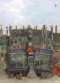 Flourish & Blotts, the Diagon Alley spot where Harry buys his books.