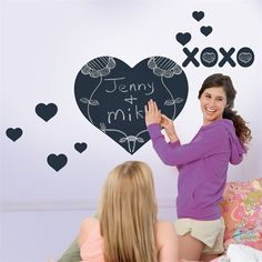 Love these chalkboard hearts for Valentines Day or whenever you want to bring a little love into a kids bedroom or playroom!