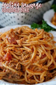 Italian Sausage Spaghetti Bake - This delicious and family loved spaghetti casserole recipe is loaded with Italian sausage, homemade sauce, cheese and more. Ground Italian Sausage Recipes, Baked Italian Sausage, Sausage Recipes For Dinner, Sausage Pasta Recipes, Yummy Pasta Recipes, Cooking Recipes, Italian Sausage Casserole, Italian Recipes, Ground Sausage