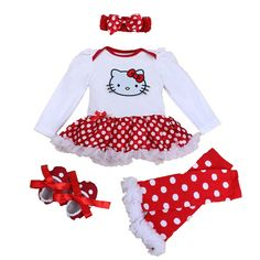 Spring 2016 Hello Kitty Baby Girl Clothes Romper Dress Legwarmers Headband Crib Shoes 4PCS Newborn Tutu Sets Infant Clothing