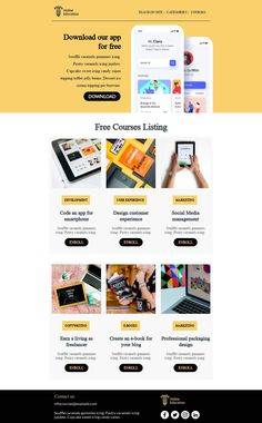 Customize this email design template with your content and send it to your mailing list for free! BEE is the easiest and quickest way to design elegant, mobile responsive emails, starting from scratch or from our 440+ ready-to-use templates.Try our BEE editor for free at the link above. (No signup required) #emaildesign #emailtemplate #onlineapp  Designed by Regina Tagirova Professional Email Templates, Html Email Templates, Email Template Design, Email Design, Responsive Email, Mobile Responsive, Email Editor, Bee Free, Type Treatments