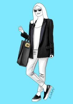 In diesem Outfit finden sich Elemente aus drei verschiedenen Eleganz-Levels: lässige Slip-ons, ein strukturierter Shopper, der Business-Qualität hat und ein Blazer im Smoking-Stil geben dem minimalistischen schwarz-weißen Outfit die entscheidenden Stil-Aussagen.