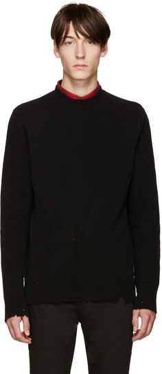 GIVENCHY Black Wool Destroyed Sweater. #givenchy #cloth #sweater