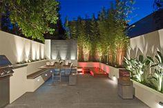 moderne Terrasse mit Ess- und Grillbereich modern terrace with dining and barbecue area Modern Backyard Design, Modern Landscape Design, Backyard Patio Designs, Modern Landscaping, Backyard Landscaping, Modern Design, Backyard Privacy, Patio Ideas, Landscaping Ideas
