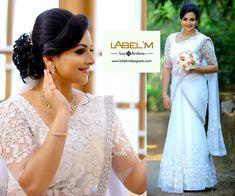 Christian Wedding Hairstyles For Saree Blue - bridal sarees in 2019 White Saree Wedding, Kerala Wedding Saree, Bridal Sari, Kerala Bride, Blue Bridal, White Bridal, Wedding Sarees, Orange Wedding, Indian Bridal