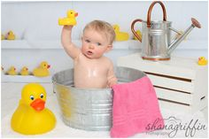 Shana Griffin Photography- First birthday cake smash and rubber ducky bubble bath