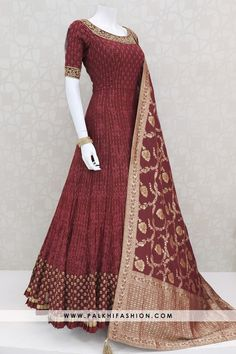 Majestic Maroon Indian Designer Outfit With Lakhnavi Work & Silk Dupatta maroon pure georgette indian outfit featuring elegant lakhnavi & resham & kundan work.This outfit comes with pure silk dupatta with elegant silk weaving Indian Fashion Dresses, Indian Gowns Dresses, Dress Indian Style, Indian Designer Outfits, Indian Outfits, Indian Clothes, Designer Anarkali Dresses, Designer Party Wear Dresses, Kurti Designs Party Wear