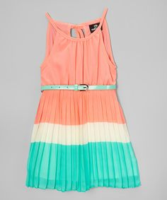 Look at this Coral & Mint Pleated Halter Dress - Infant, Toddler & Girls on #zulily today!