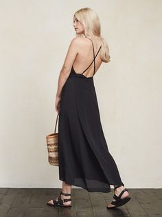 For that thing you have to go to. The Ila Dress is a crepe maxi dress with (adjustable) criss cross straps and a wrap skirt that wraps in the back and ties at the waist. https://www.thereformation.com/products/ila-dress-black?utm_source=pinterest&utm_medium=organic&utm_campaign=PinterestOwnedPins