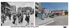 Carretera de Collblanc, a la izquierda los antiguos almacenes Collblanc, año 1972 y 2016 (2)