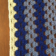 Snuggly Afghan Blanket with Royal Blue, Baby Blue, and White in Concentric Squares by HautelAudubon on Etsy https://www.etsy.com/listing/469628497/snuggly-afghan-blanket-with-royal-blue