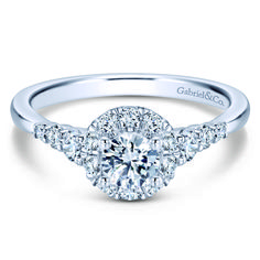 Preset 14k White Gold Round Halo Diamond Engagement Ring. $3,260