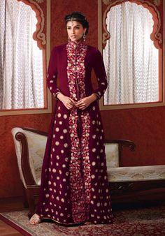 Melodic Maroon Velvet Suit - Salwar Kameez - Women